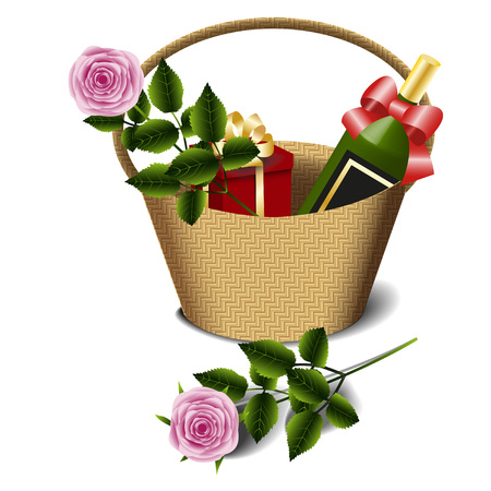 gift basket: Basket with a bottle of wine, gift and pink roses Isolated on white background, vector illustration Illustration