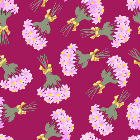 claret: Illustration pattern bouquets of pink daisies on a claret  background
