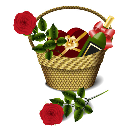 wine gift: Basket with a bottle of wine, gift box of chocolates and red roses Isolated on white background