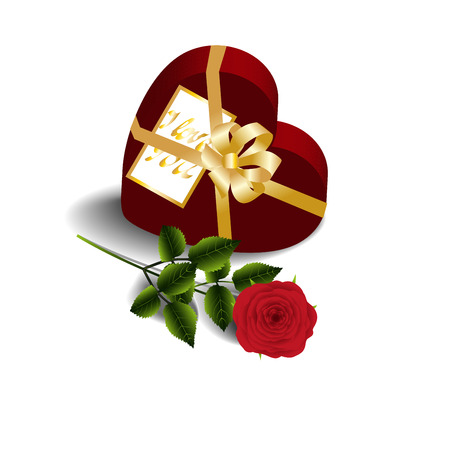 heartshaped: Greeting card, gift box-heart with greeting card and red rose isolated on a white background