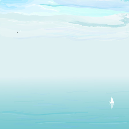 Seascape white yacht on background blue sea and white clouds, vector illustration