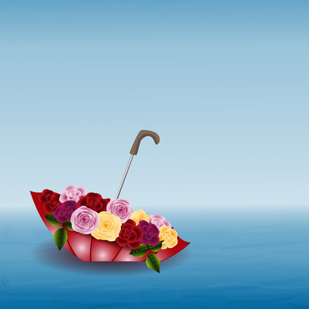Seascape, umbrella with flowers on the water, sky and horizon, vector illustration