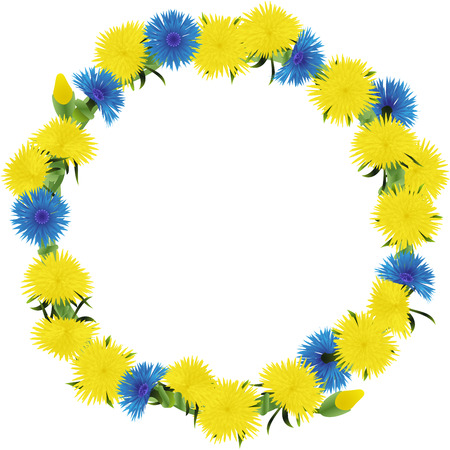 weaved: Wreath weaved from dandelions and cornflowers isolated on a white background, vector illustration