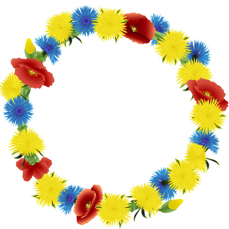 weaved: Wreath weaved from dandelions, poppies and cornflowers isolated on a white background, vector illustration