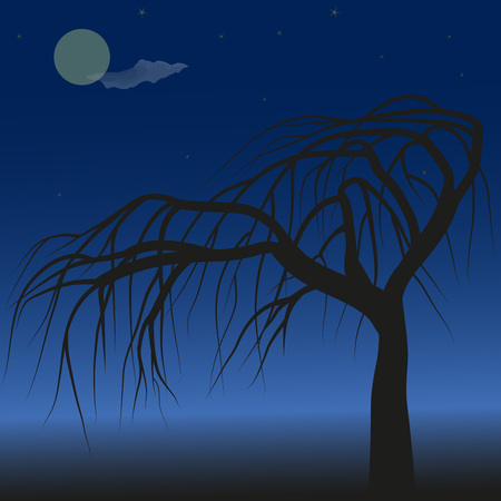 lonely tree: Lonely tree against blue night sky, moon and stars, illustration