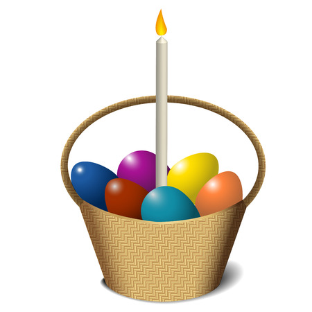 easter candle: Easter basket with colored eggs and candle isolated on white background Illustration