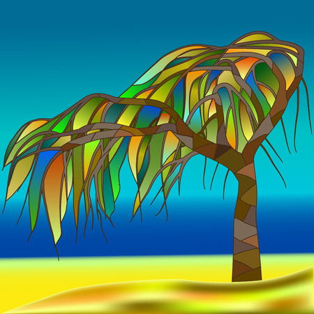 yellow hills: Stained-glass window, abstract tree against the background of a sea landscape
