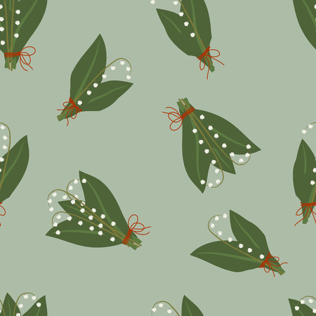 fragrant bouquet: Seamless pattern, bouquets of spring lilies of the valley with leaves on a blue-green background, illustration