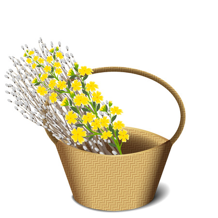 bunch flowers: Bunch of willow branches and yellow wild flowers in a basket isolated on white background, illustration Illustration