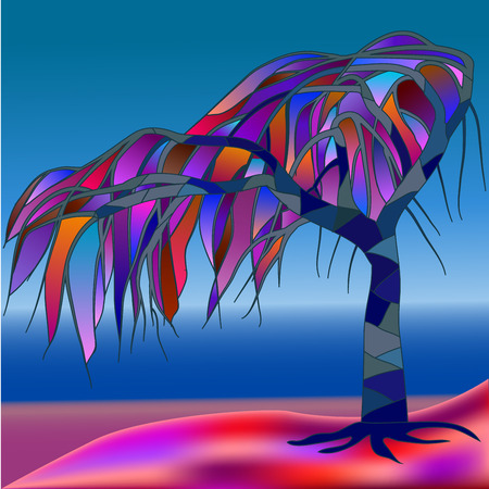 blue glass: Stained-glass window, abstract tree against the background of a sea landscape, illustration