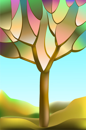 pink hills: Stained-glass window, abstract autumn tree against the sky and hills, illustration