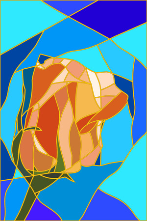 tea rose: Stained-glass window abstract tea rose, illustration