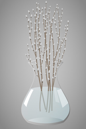 clear: Willow branches in a clear vase, illustration