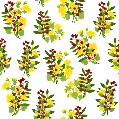 buttercups: Bouquets of buttercups and red bellflowers, with leaves on white background, seamless pattern, illustration