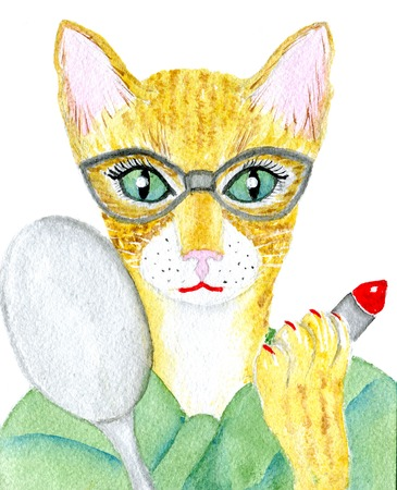 cat's eye glasses: Portrait of a red cat in a glasses isolated on white background,  watercolor illustration and  paper texture