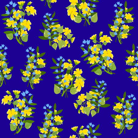buttercups: Bouquets of buttercups and blue bellflowers, with leaves on dark blue background, seamless pattern, vector illustration Illustration