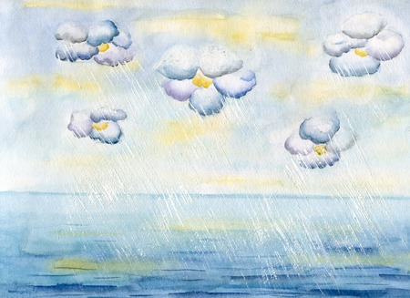 rainwater: Clouds-flowers over sea and rainwater flows, hand painted watercolor illustration and paper texture
