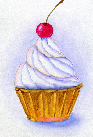 cream paper: Cake with whipped cream and cherry. Hand painted watercolor illustration and paper texture