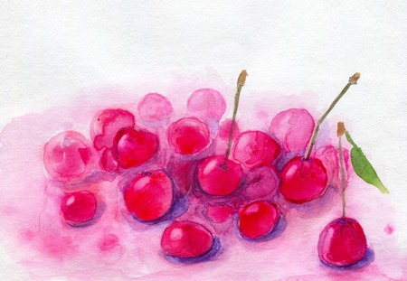 mousse: Cherry mousse with fresh cherries. Hand painted watercolor illustration and paper texture