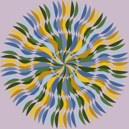 winding: Abstract radial multicolored winding stripes, vector illustration Illustration