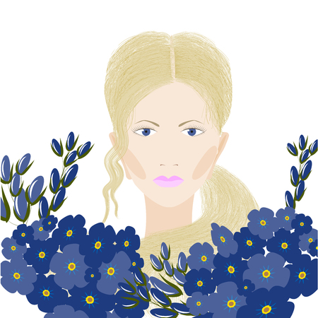 blond hair: Portrait of girl with blond hair and blue flowers, isolated on white background, illustration