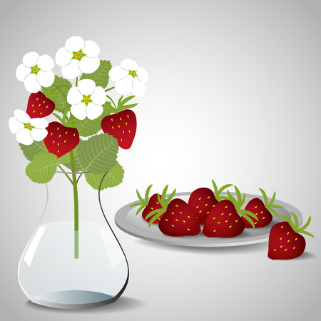 Plate With Strawberries And A Vase With A Bouquet Of Blossoming