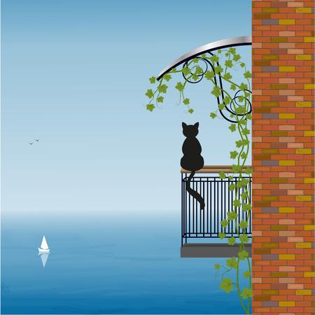 silhouette maison: Chat sur le balcon de la maison admire la vue sur la mer, illustration