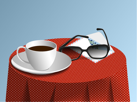 Glasses, cup of coffee and envelope with a card on a red tablecloth with white spotted, illustration