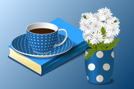 blue spotted: Blue spotted cup on the book and a spotted vase with white chrysanthemums on blue background