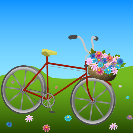 hillside: Bicycle with basket of colorful flowers on a green hillside meadow, vector illustration Illustration