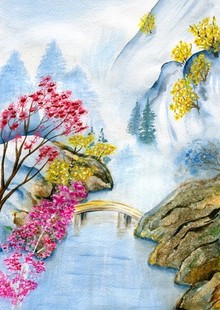 mountain stream: Mountain landscape in the spring, the mountain stream and blooming trees. Hand painted watercolor illustration and paper texture