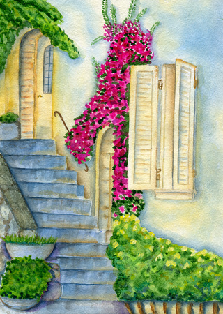 mediterranean homes: Wall of old house, window with shutters, curly flowering plants, stone steps. Hand painted watercolor illustration and paper texture Stock Photo