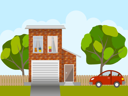 front yard: Front of the house, the trees in the yard and the car, lifestyle scene. Vector illustration Illustration