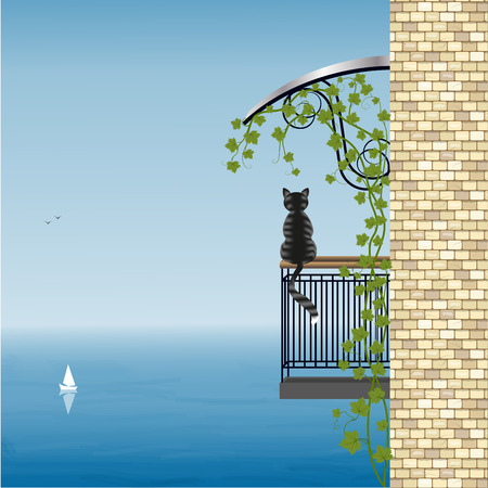 Cat on the balcony of the house admires the sea view, vector illustration Reklamní fotografie - 67423869