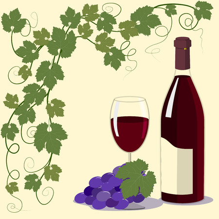 grapes on vine: Bottle and a glass of red wine and blue grapes, vine branches with leaves on yellow background, vector illustration
