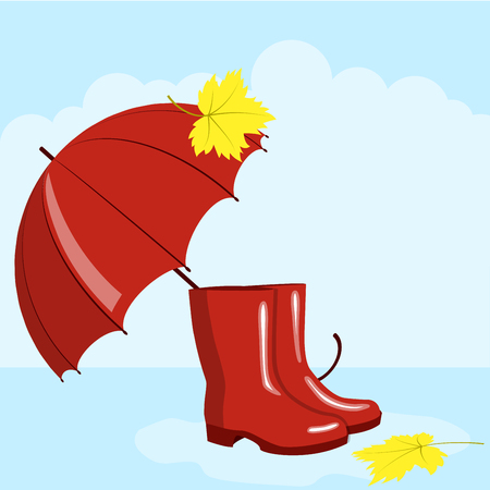 Red umbrella and rubber boots, autumn picture, vector illustration Illustration
