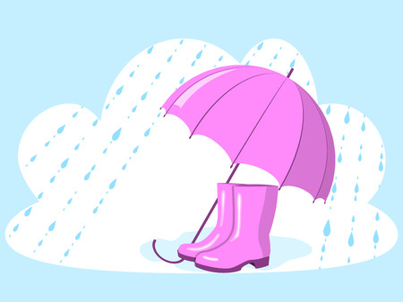 Pink umbrella and rubber boots, autumn picture, vector illustration