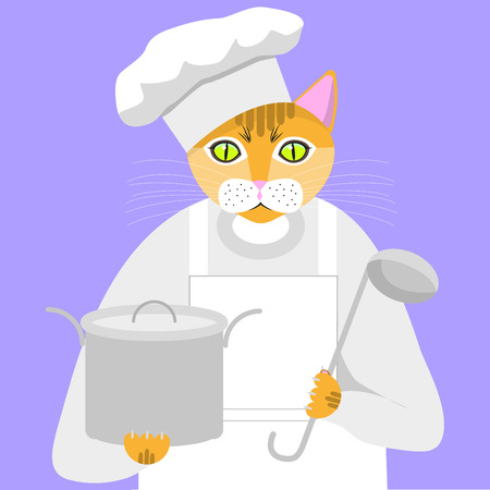 Red cat in a suit chef with pan and ladle on a purple background, vector illustration Illustration