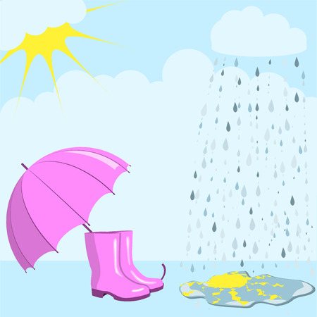 Pink umbrella and gumboots against the background of a rain and the cloudy sky, the sun is reflected in a puddle, autumn mood, vector illustration Illustration