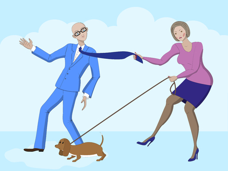 jealousy: The controlling woman tries to keep a man, life scene. Vector illustration