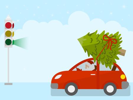 Weihnachtsmann trägt einen Weihnachtsbaum auf einem roten Auto auf einer grünen Ampel, Vektor-Illustration