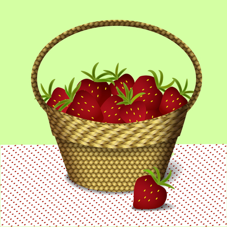 Wicker basket with strawberries on spotted tablecloth, vector illustration Illustration