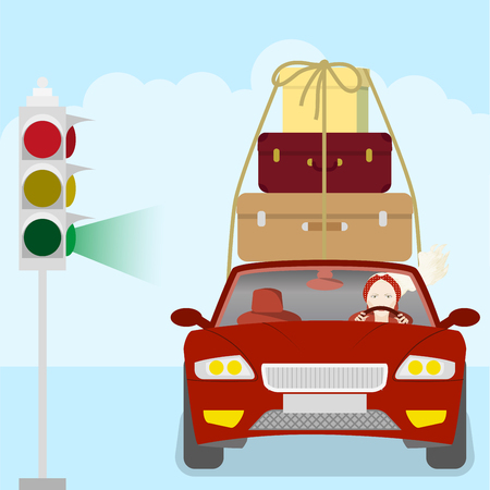 Woman on a car driven suitcases and a box, traffic lights at the crossroads against the background of a cloudy sky, vector illustration