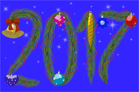 silvester: Greeting Card Happy New Year 2017, numbers of conifer twigs, decorated with Christmas toys, against the background of starry sky, vector illustration Illustration