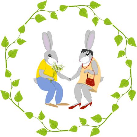 Postcard hare and doe-hare