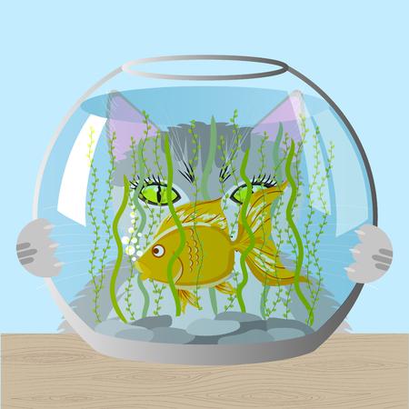 Cat and aquarium Illustration