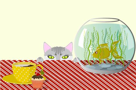Cat, aquarium and cup.