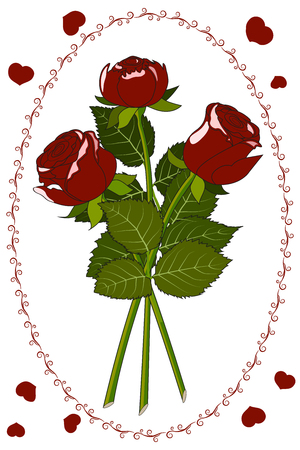 Postcard three red roses 向量圖像
