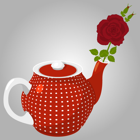 Spotted teapot and rose Illustration