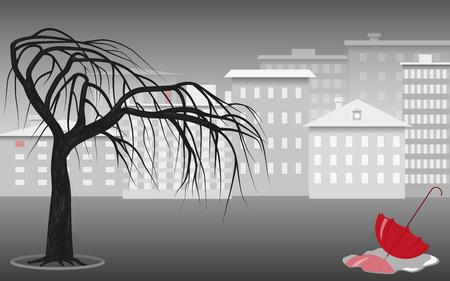 Gray city landscape